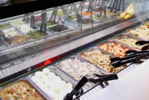 View of Sultan's Market salad bar with eggs, chicken, shrimp and a plethora of other salad items.
