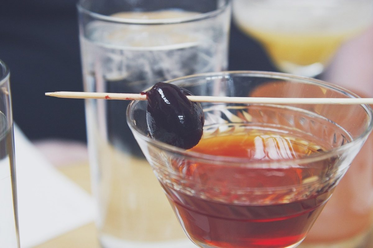 Close up of a Bar Cherry on a Cocktail