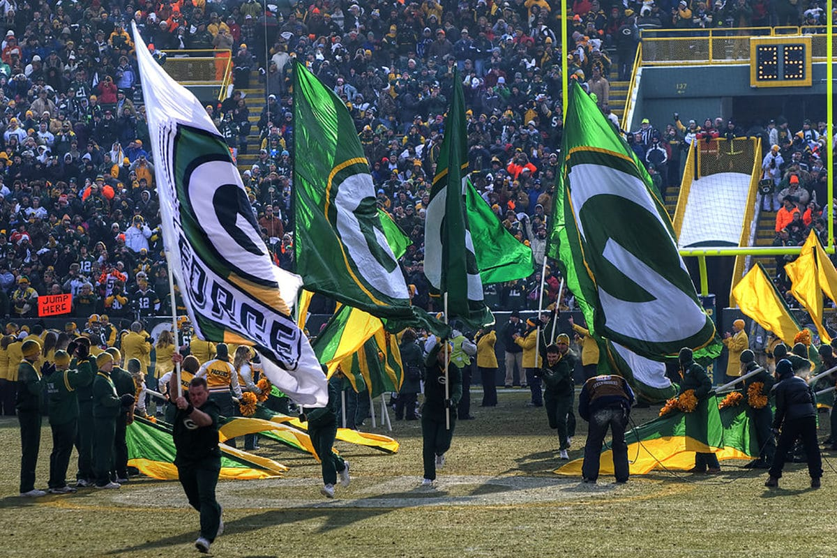 Green Bay Packers Flags On Lambeau Field