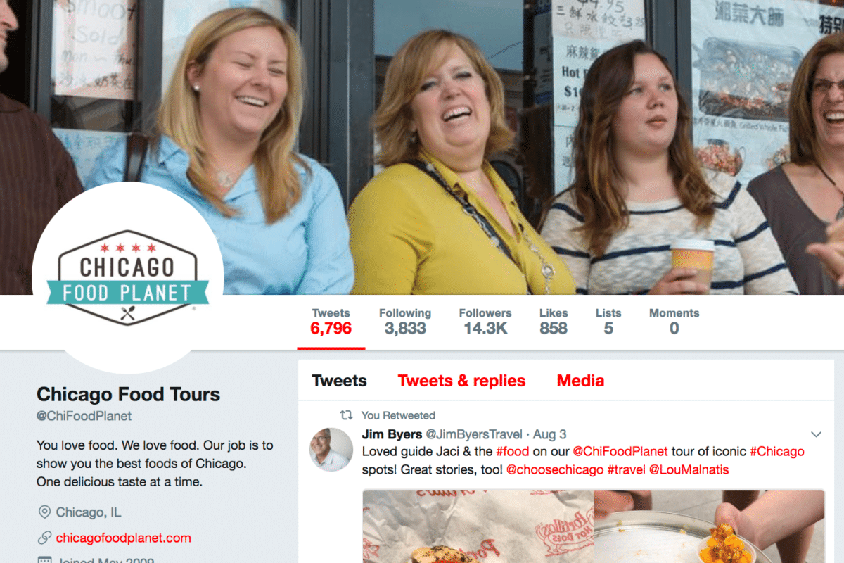 Screenshot of Chicago Food Planet Twitter Profile