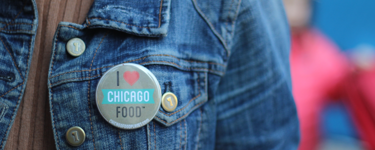 close up of I heart chicago pin