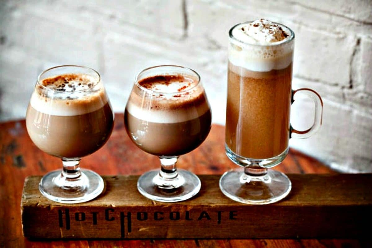 Tray of hot chocolate from Mindy Segal's HotChocolate Chicago used with Permission of HotChocolate