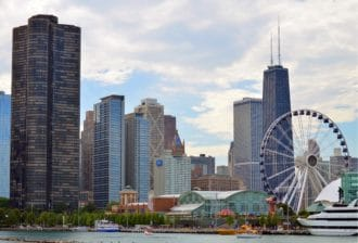 chicago's navy pier by boat